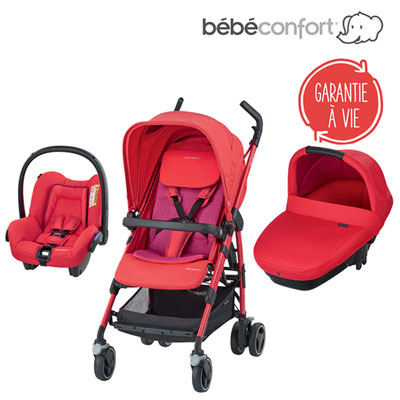 Pack poussette trio dana amber red orchid Bebe confort