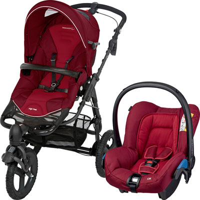 Pack poussette duo high trek citi robin red Bebe confort