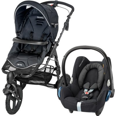 Pack poussette duo high trek cabriofix black raven 2016 Bebe confort