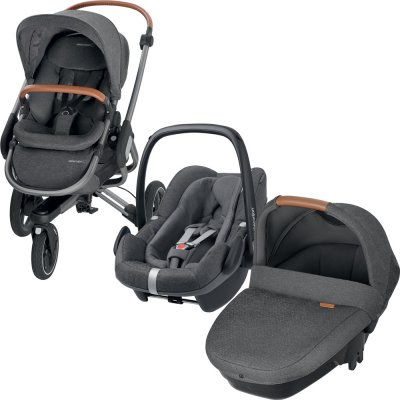 Pack poussette trio nova 3 roues pebble plus amber sparkling grey Bebe confort