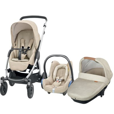 Pack poussette trio stella cabriofix amber nomad sand Bebe confort