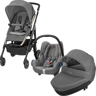 Pack poussette trio loola 3 cabriofix windoo concrete grey 2016 Bebe confort