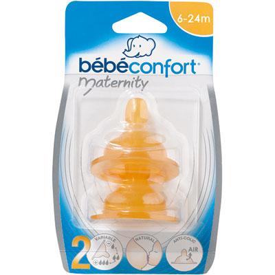 Lot de 2 tétines maternity latex 3 vitesses t2 base large Bebe confort