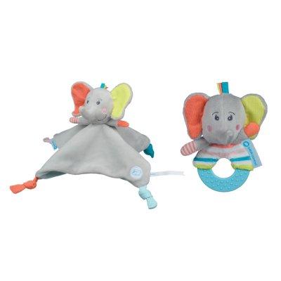 Coffret cadeau naissance doudou elephant et hochet Bebe confort