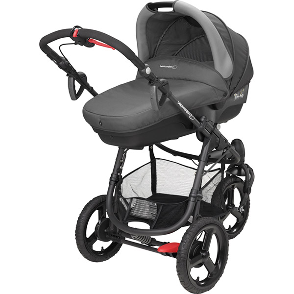 Poussette combiné trio high trek pebble plus compacte concrete grey Bebe confort