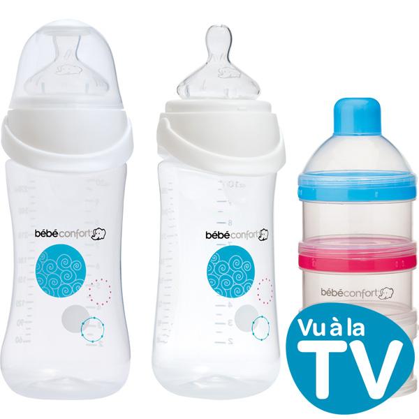 Lot de 2 biberons sans bpa maternity easy clip 270 ml+ doseur de lait Bebe confort