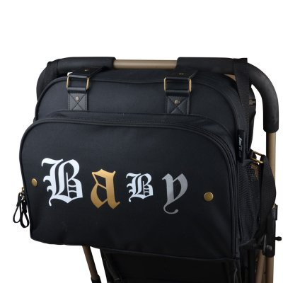 Sac à langer simply premium rock spirit noir/texte old english Baby on board