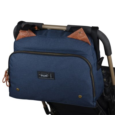 Sac à langer titou moonlight bleu denim/cognac Baby on board