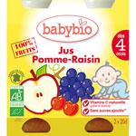 Bio jus pommes raisins 20 cl dès 4 mois pas cher