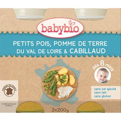 Menu du jour légumes et cabillaud 200 g dès 8 mois Babybio