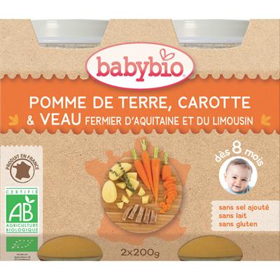 Menu du jour légumes et veau fermier d'aquitaine 200 g dès 8 mois Babybio