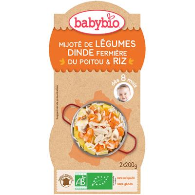 Mijoté de légumes dinde riz Babybio