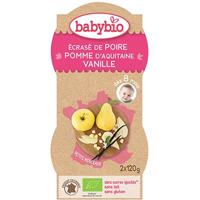 Bio p'tits fruits poire pomme vanille 120 g dès 12 mois Babybio