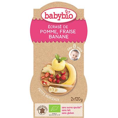 P'tits fruits pomme fraise banane 120 g dès 12 mois Babybio
