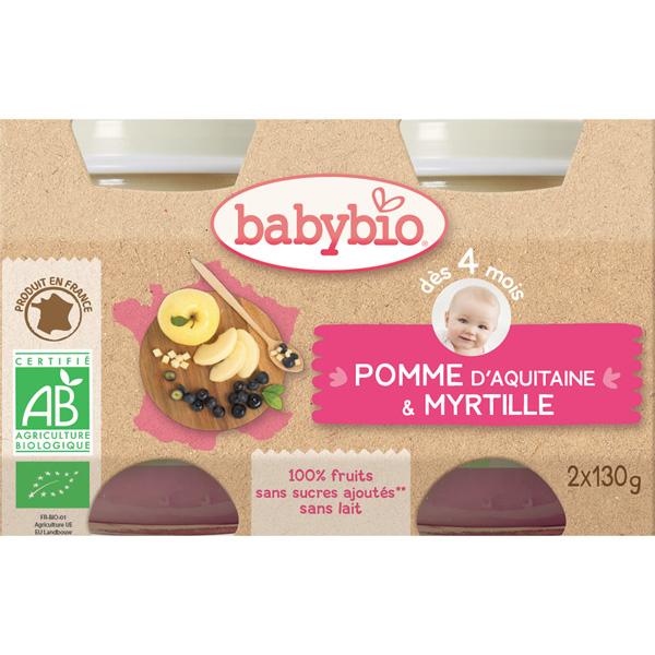 Bio pommes myrtilles dès 4 mois Babybio