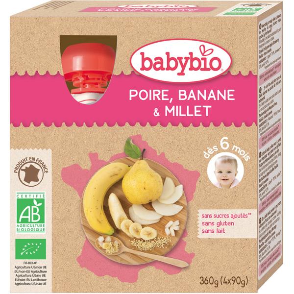 Mes fruits gourde bébé poire banane millet Babybio