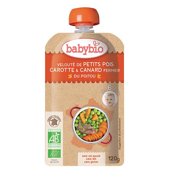 Menu du jour petite pois carotte canard fermier Babybio