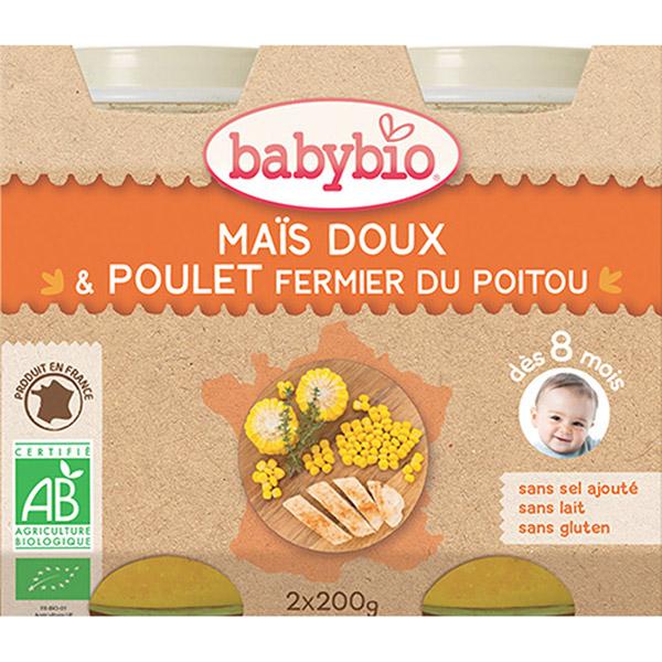 Menu du jour légumes et poulet fermier 200 g dès 8 mois Babybio