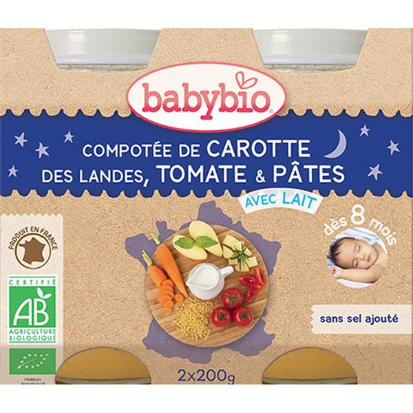 Menu du jour légumes et pâtes 200 g dès 8 mois Babybio