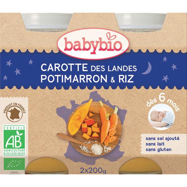 Menu soir bonne nuit carotte-potimarron riz Babybio
