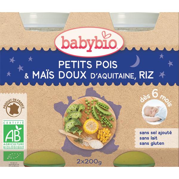 Menu soir bonne nuit petits pois maïs riz Babybio
