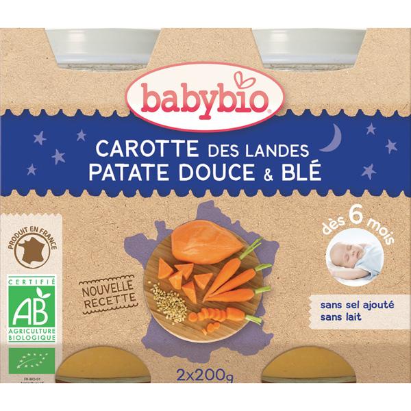 Menu soir bonne nuit légumes variés blé Babybio