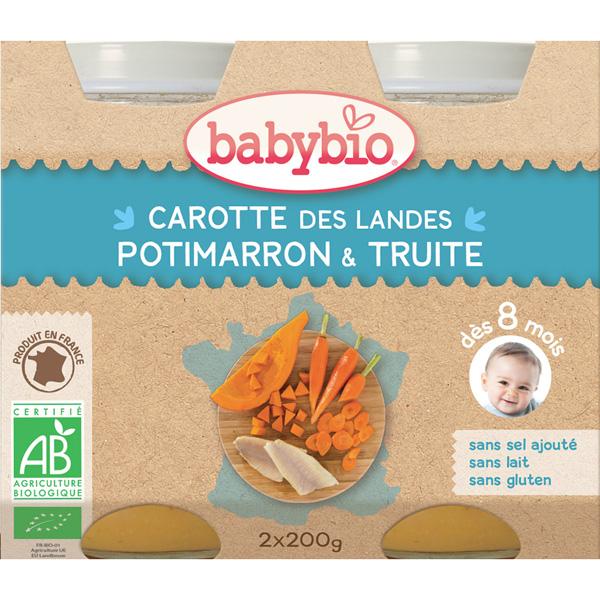Menu du jour légumes et truite d'irlande 2 x 200 g dès 8 mois Babybio
