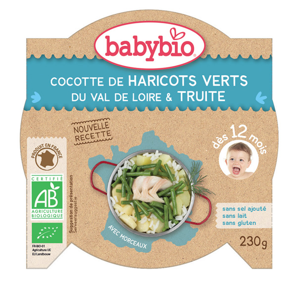 Menu du jour légumes verts et truite d'irlande 230 g dès 12 mois Babybio