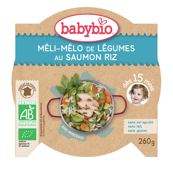Mon p'tit plat méli mélo de légumes au saumon riz Babybio