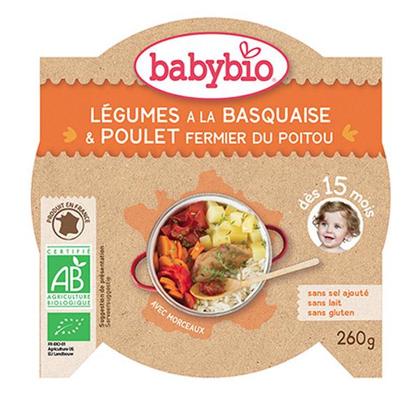 Mon p'tit plat légumes du soleil poulet basquaise riz 260 g dès 15 mois Babybio