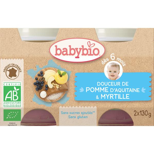 Bio crème aux fruits pomme - myrtille 130 g dès 6 mois Babybio