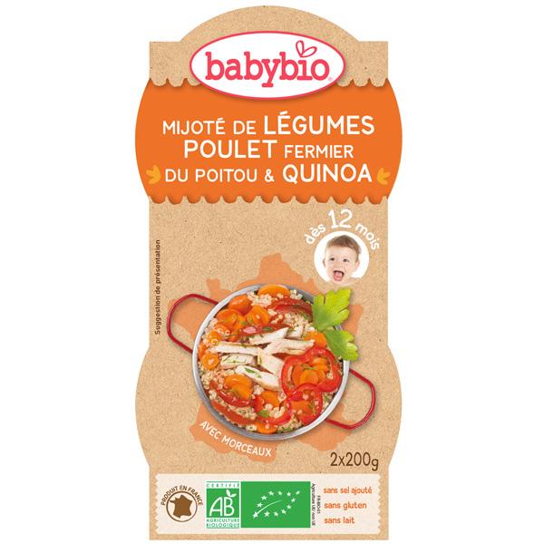 Bio menu du jour mitonné de légumes au poulet fermier et quinoa Babybio