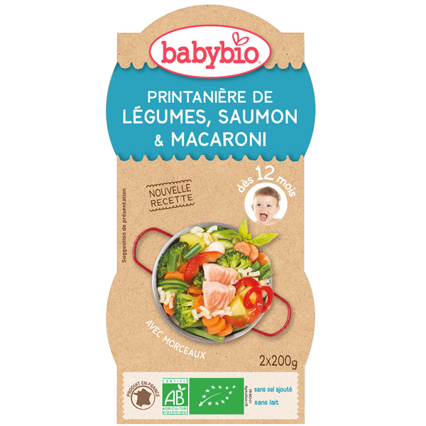 Légumes saumon pâtes au parmesan 200 g dès 12 mois Babybio