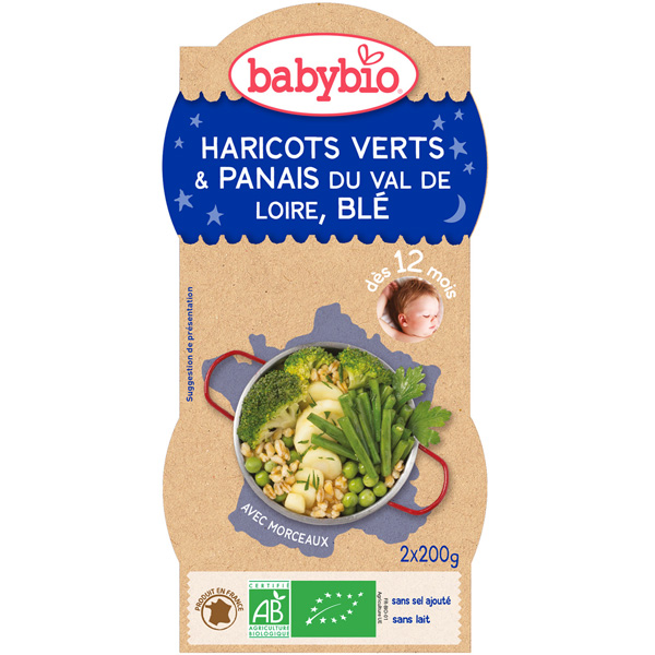 Bio bonne nuit cassolette de légumes verts et blé 200 g dès 12 mois Babybio