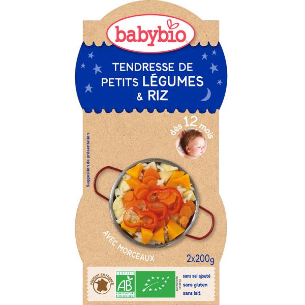 Bio bonne nuit tendresse de petits légumes riz 200 g dès 12 mois Babybio