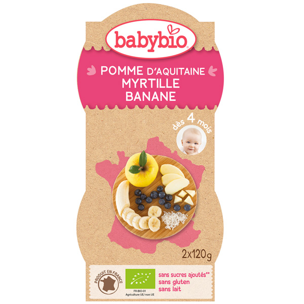 Bio mes fruits pomme myrtille banane 120 g dès 4 mois Babybio