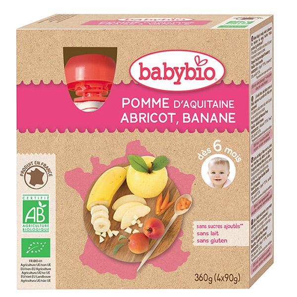 Mes fruits gourde pomme abricot banane 4 x 90 g dès 12 mois Babybio