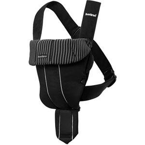 Porte bébé ventral / kangourou original classic noir/rayures blanches