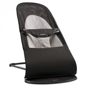 Transat bébé balance soft maille filet 3d noir/gris