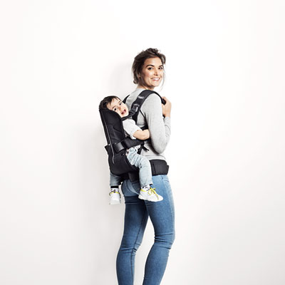 Porte bébé ventral multiposition one cotton mix noir Babybjorn