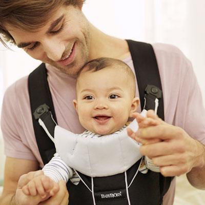 Porte bébé ventral miracle coton mix noir/argent Babybjorn