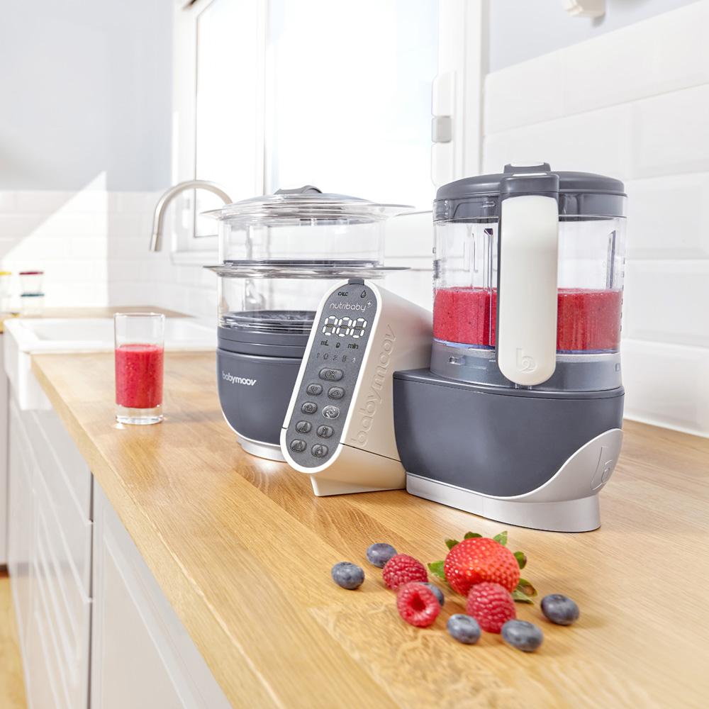 Robot de cuisine nutribaby industrial grey coque effet for Cuisine alu brosse