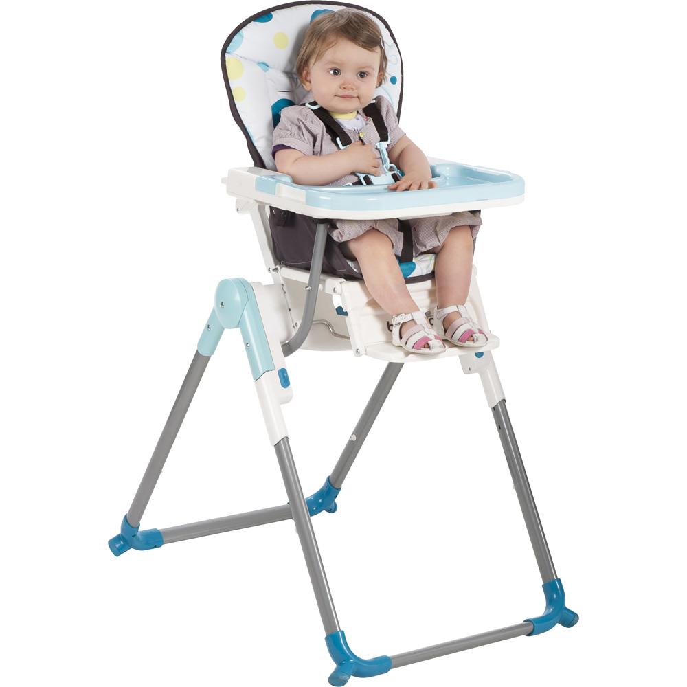 Chaise haute r glable slim turquoise de babymoov chez for Chaise haute babymoov slim