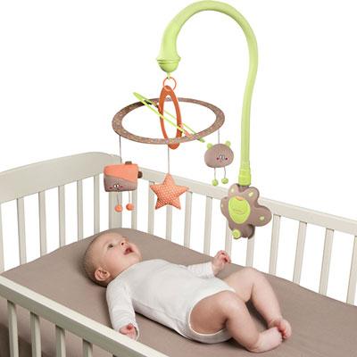 Mobile de lit scintille vert amande Babymoov
