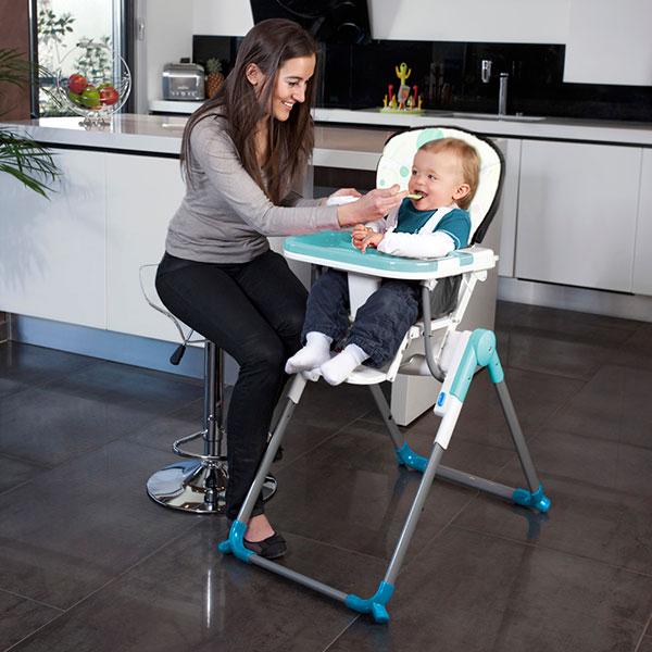 Chaise haute bébé slim turquoise Babymoov