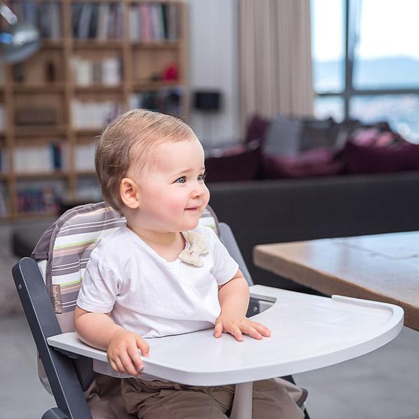 Chaise haute bébé light wood zinc/aluminium Babymoov