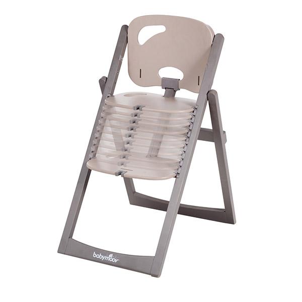 Chaise haute bébé light wood taupe/fusain Babymoov
