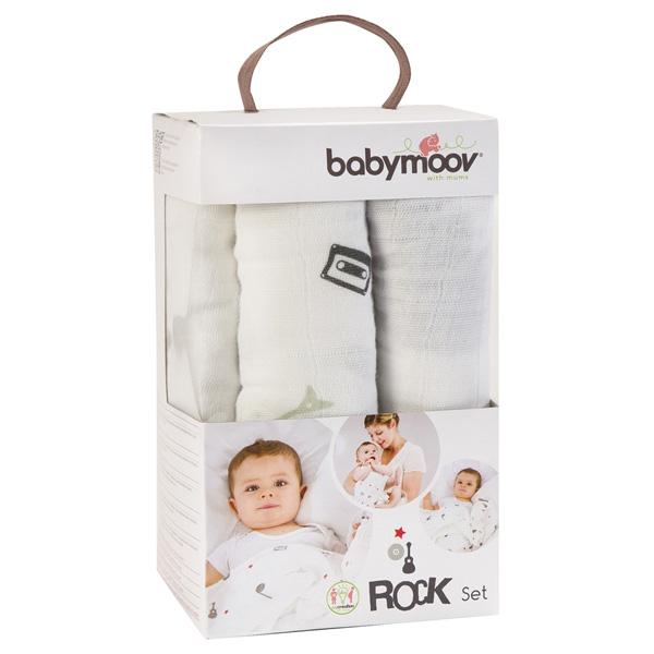 Lot de 3 langes bébé rock Babymoov