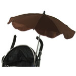 Ombrelle poussette anti uv triple flexible avec easy clip marron pas cher