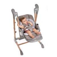 Chaise haute bébé avec fonction balancement gris